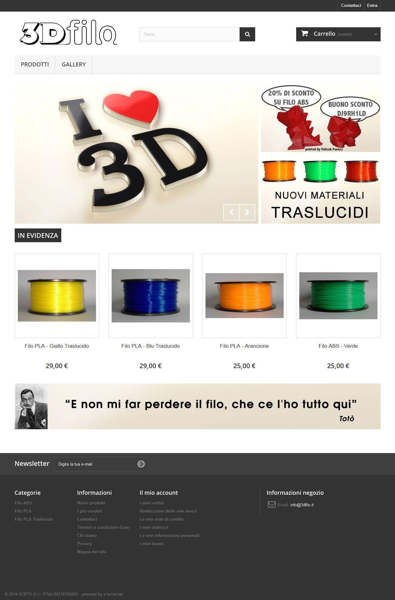 sito web e-commerce 3dfilo